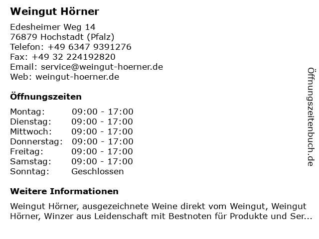Weingut Hörner in Hochstadt (Pfalz): Adresse und Öffnungszeiten