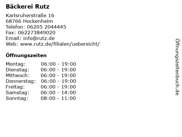 Bäckerei Rutz in Hockenheim: Adresse und Öffnungszeiten