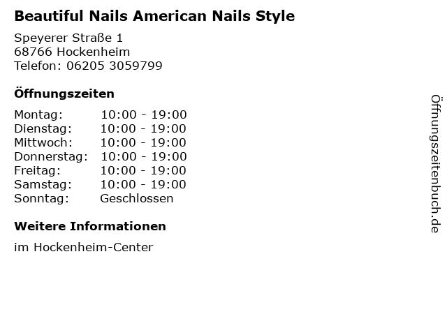 Beautiful Nails American Nails Style in Hockenheim: Adresse und Öffnungszeiten