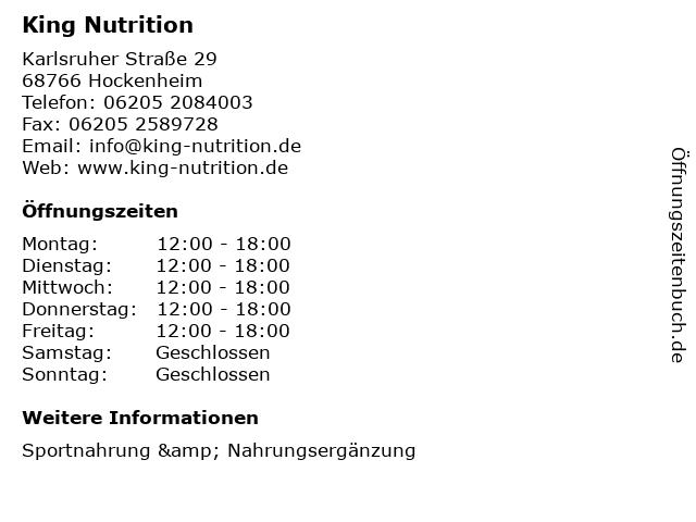 King Nutrition in Hockenheim: Adresse und Öffnungszeiten