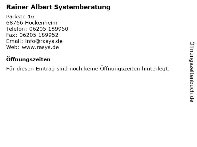 Rainer Albert Systemberatung in Hockenheim: Adresse und Öffnungszeiten