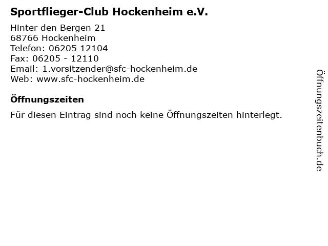 Sportflieger-Club Hockenheim e.V. in Hockenheim: Adresse und Öffnungszeiten