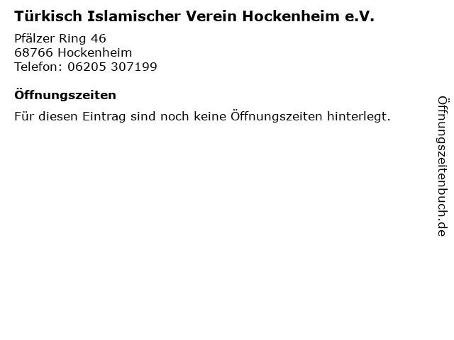 Türkisch Islamischer Verein Hockenheim e.V. in Hockenheim: Adresse und Öffnungszeiten