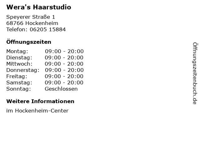 Wera's Haarstudio in Hockenheim: Adresse und Öffnungszeiten