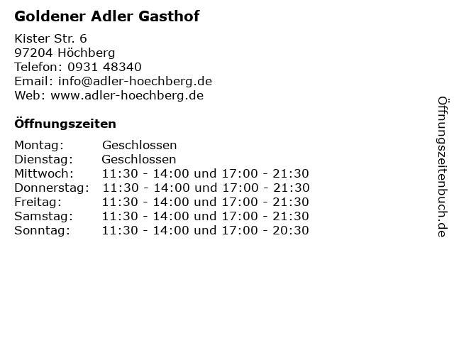 Goldener Adler Gasthof in Höchberg: Adresse und Öffnungszeiten