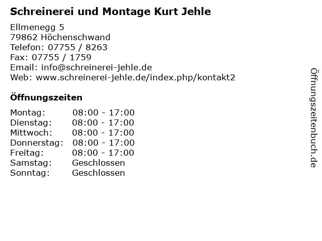 Schreinerei und Montage Kurt Jehle in Höchenschwand: Adresse und Öffnungszeiten