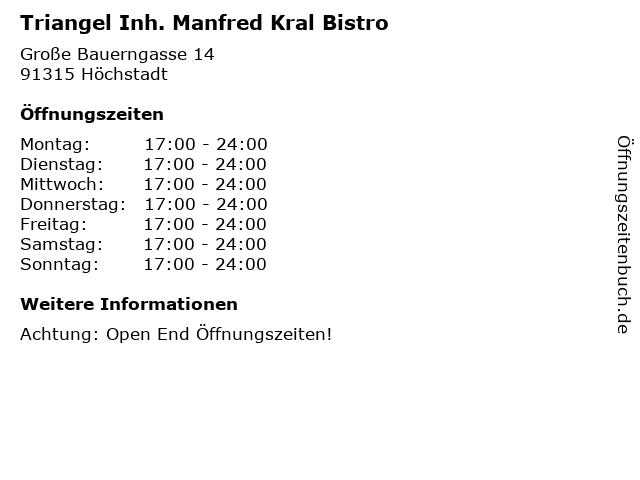 Triangel Inh. Manfred Kral Bistro in Höchstadt: Adresse und Öffnungszeiten