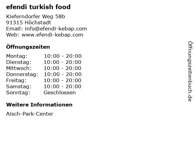 efendi turkish food in Höchstadt: Adresse und Öffnungszeiten