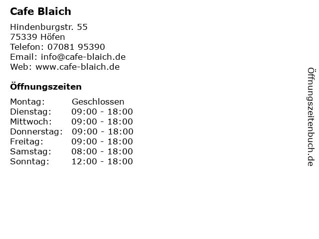 Cafe Blaich in Höfen: Adresse und Öffnungszeiten