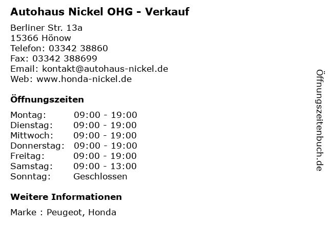 Autohaus Nickel OHG - Verkauf in Hönow: Adresse und Öffnungszeiten