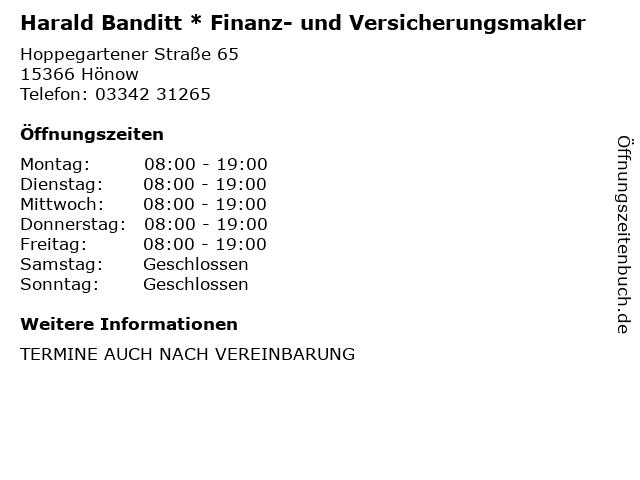 Harald Banditt * Finanz- und Versicherungsmakler in Hönow: Adresse und Öffnungszeiten