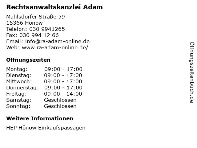 Rechtsanwaltskanzlei Adam in Hönow: Adresse und Öffnungszeiten