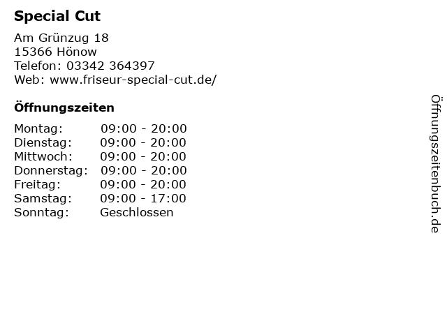 Special Cut in Hönow: Adresse und Öffnungszeiten