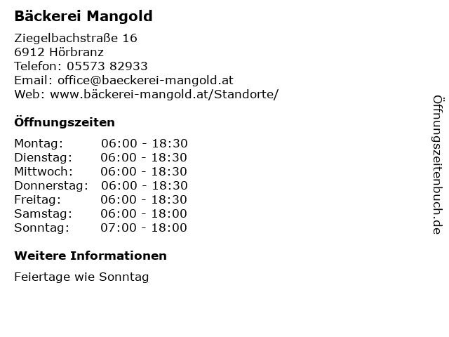Bäckerei Mangold in Hörbranz: Adresse und Öffnungszeiten