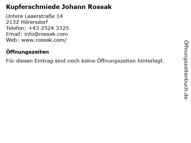 Kupferschmiede Johann Rossak in Hörersdorf: Adresse und Öffnungszeiten