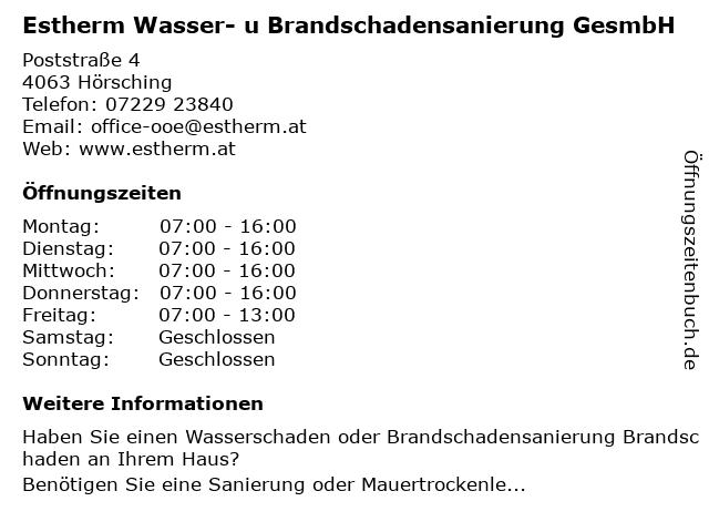 Estherm Wasser- u Brandschadensanierung GesmbH in Hörsching: Adresse und Öffnungszeiten