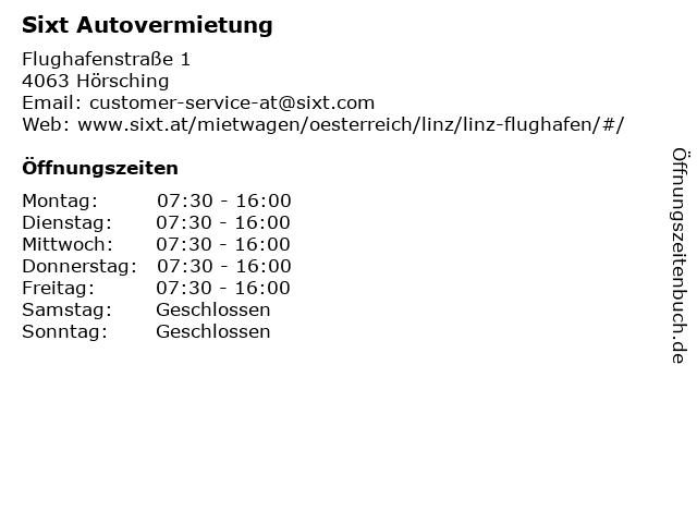 Sixt Autovermietung in Hörsching: Adresse und Öffnungszeiten