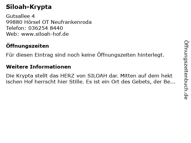 Siloah-Krypta in Hörsel OT Neufrankenroda: Adresse und Öffnungszeiten