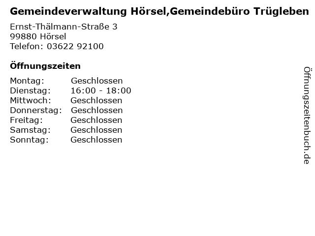 Gemeindeverwaltung Hörsel,Gemeindebüro Trügleben in Hörsel: Adresse und Öffnungszeiten