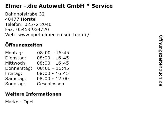 """ᐅ Öffnungszeiten """"elmer -.die autowelt gmbh * service"""
