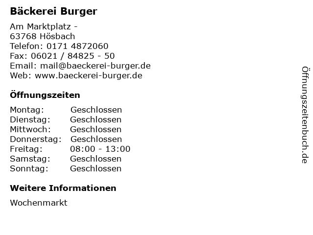 Bäckerei Burger in Hösbach: Adresse und Öffnungszeiten