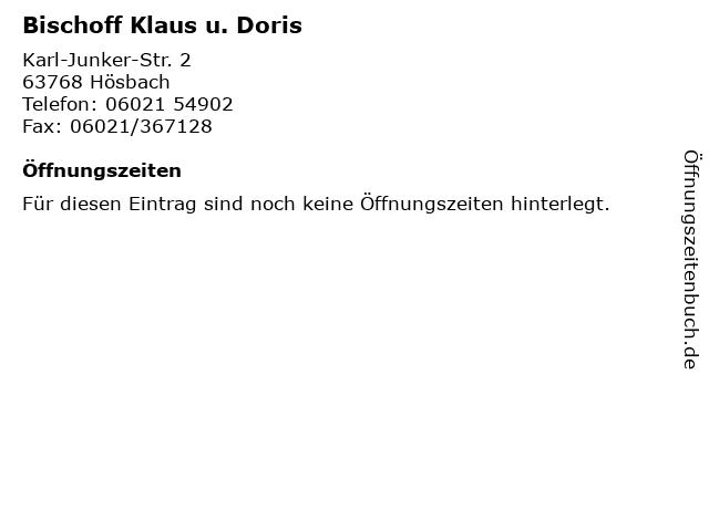 Bischoff Klaus u. Doris in Hösbach: Adresse und Öffnungszeiten