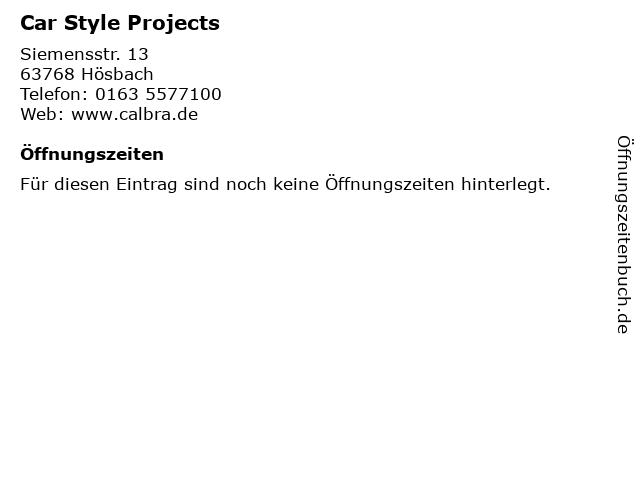 Car Style Projects in Hösbach: Adresse und Öffnungszeiten