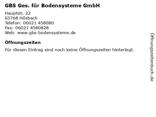 GBS Ges. für Bodensysteme GmbH in Hösbach: Adresse und Öffnungszeiten