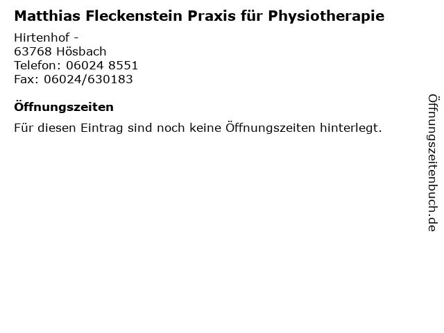 Matthias Fleckenstein Praxis für Physiotherapie in Hösbach: Adresse und Öffnungszeiten