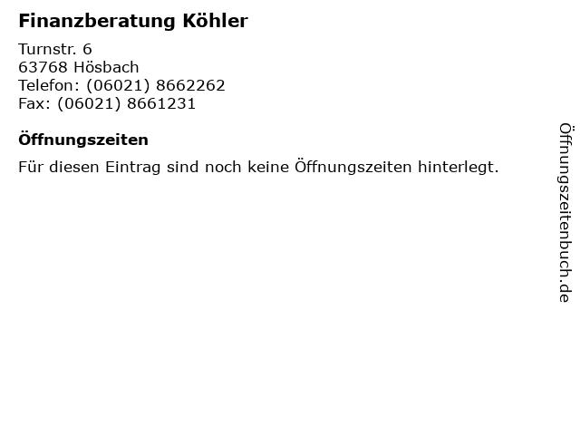 Thorsten Köhler Fachwirt für Finanzberatung in Hösbach: Adresse und Öffnungszeiten