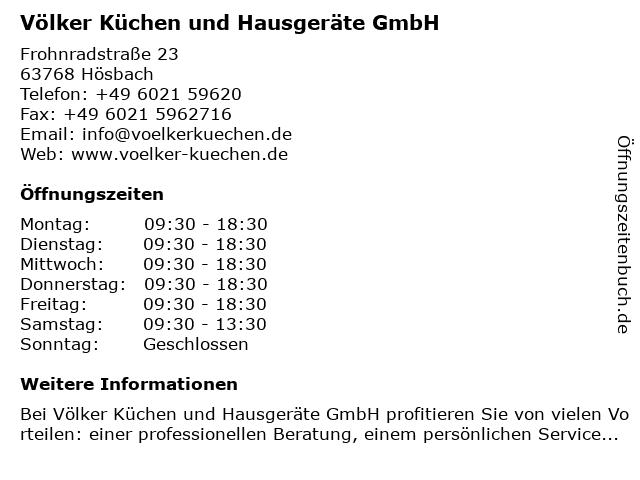 ᐅ Offnungszeiten Volker Kuchen Und Hausgerate Gmbh Frohnradstrasse 23 In Hosbach