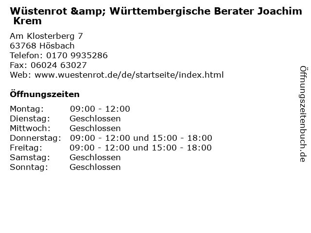 Wüstenrot & Württembergische Berater Joachim Krem in Hösbach: Adresse und Öffnungszeiten