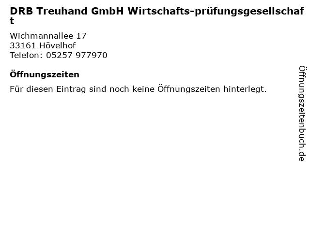 DRB Treuhand GmbH Wirtschafts-prüfungsgesellschaft in Hövelhof: Adresse und Öffnungszeiten