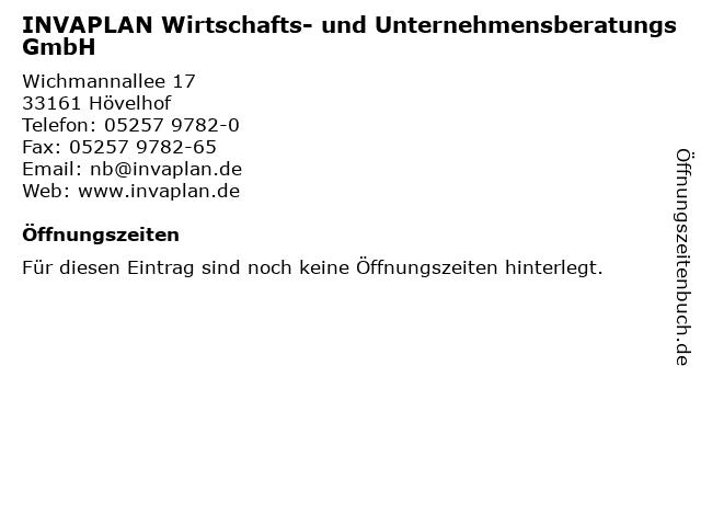 INVAPLAN Wirtschafts- und Unternehmensberatungs GmbH in Hövelhof: Adresse und Öffnungszeiten
