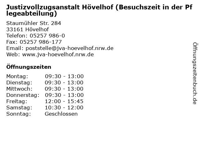 Justizvollzugsanstalt Hövelhof (Besuchszeit in der Pflegeabteilung) in Hövelhof: Adresse und Öffnungszeiten