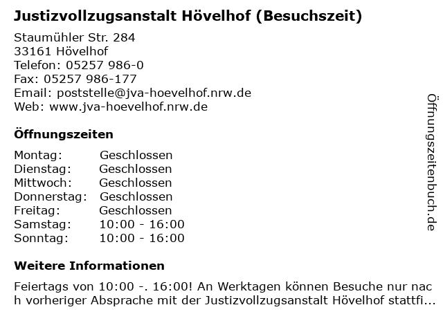 Justizvollzugsanstalt Hövelhof (Besuchszeit) in Hövelhof: Adresse und Öffnungszeiten