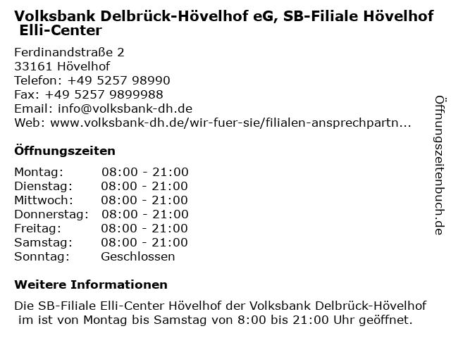 Volksbank Delbrück-Hövelhof eG, SB-Filiale Hövelhof Elli-Center in Hövelhof: Adresse und Öffnungszeiten
