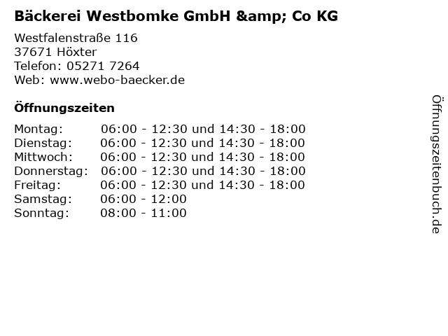 Bäckerei Westbomke GmbH & Co KG in Höxter: Adresse und Öffnungszeiten
