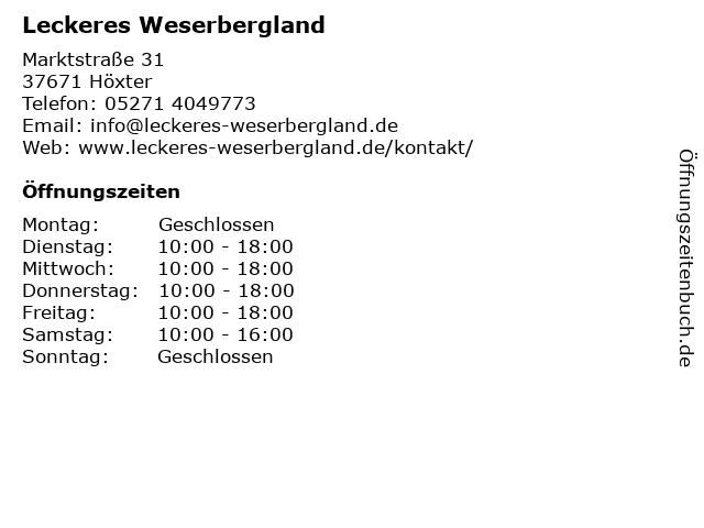 Leckeres Weserbergland in Höxter: Adresse und Öffnungszeiten