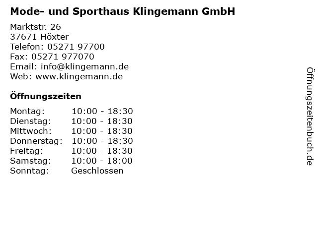 Mode- und Sporthaus Klingemann GmbH in Höxter: Adresse und Öffnungszeiten
