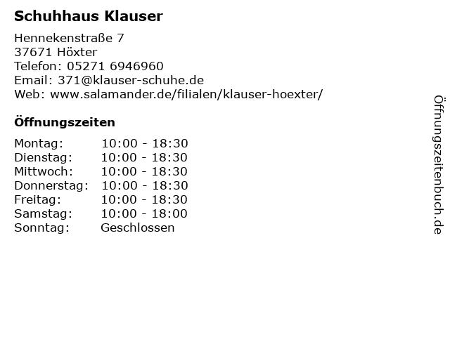 Schuhhaus Klauser in Höxter: Adresse und Öffnungszeiten