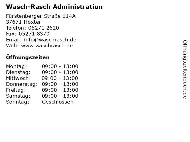 Wasch-Rasch Administration in Höxter: Adresse und Öffnungszeiten