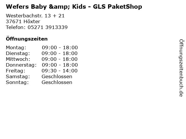 Wefers Baby & Kids - GLS PaketShop in Höxter: Adresse und Öffnungszeiten