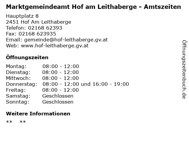 Marktgemeindeamt Hof am Leithaberge - Amtszeiten in Hof Am Leithaberge: Adresse und Öffnungszeiten