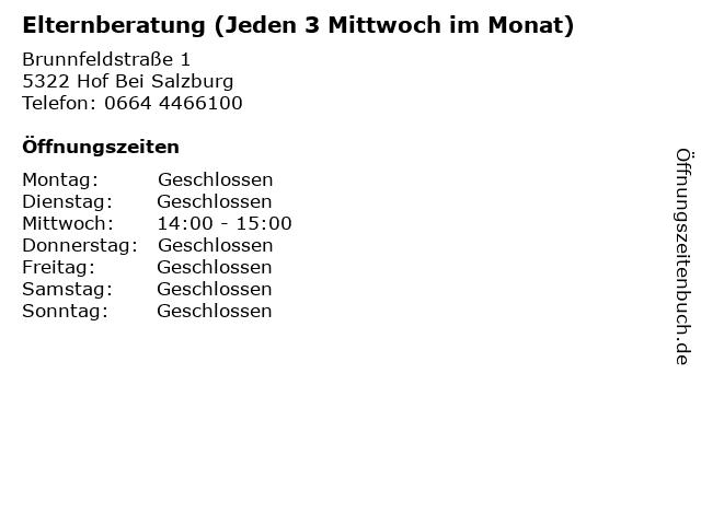 Elternberatung (Jeden 3 Mittwoch im Monat) in Hof Bei Salzburg: Adresse und Öffnungszeiten