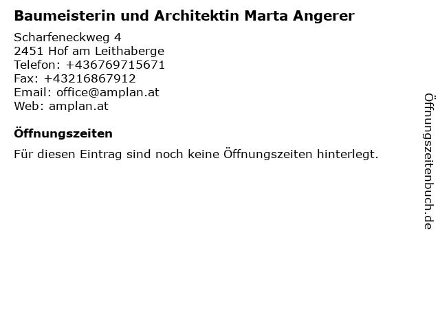 Baumeisterin und Architektin Marta Angerer in Hof am Leithaberge: Adresse und Öffnungszeiten