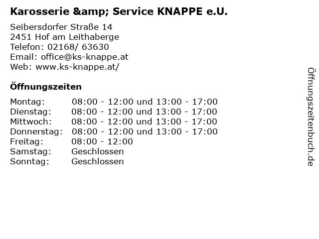 Karosserie & Service KNAPPE e.U. in Hof am Leithaberge: Adresse und Öffnungszeiten