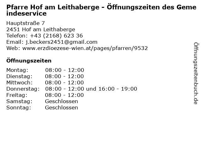 Pfarre Hof am Leithaberge - Öffnungszeiten des Gemeindeservice in Hof am Leithaberge: Adresse und Öffnungszeiten