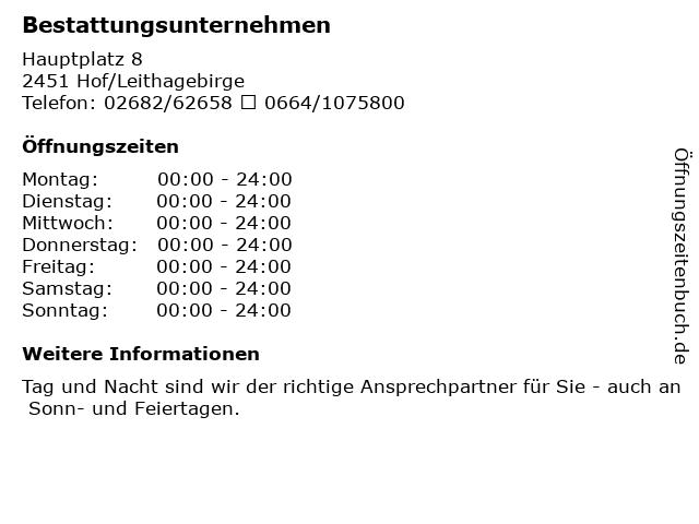 Bestattungsunternehmen in Hof/Leithagebirge: Adresse und Öffnungszeiten