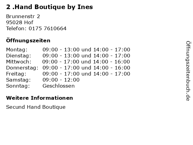 2 .Hand Boutique by Ines in Hof: Adresse und Öffnungszeiten